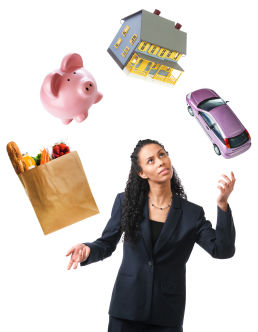 woman juggling expenses and debt